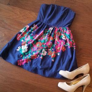 Lily Pulitzer Lottie Floral Blue Strapless Dress